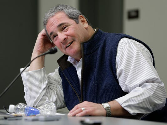 Carolina Panthers general manager Dave Gettleman answers a question during an end of season news conference for the NFL football team in Charlotte, N.C., Tuesday, Jan. 13, 2015. (AP Photo/Chuck Burton)