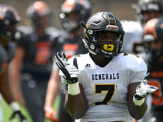 Autauga Academy's Djay Gardner celebrates after scoring a touchdown during the SECIS Kickoff Classic at Cramton Bowl in Montgomery, Ala. on Saturday August 12, 2017.