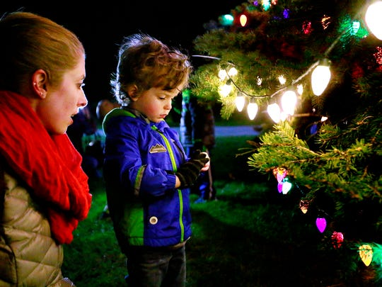 Lisa Angelucci, left, and her son Ben Mahon, 3, both of Springettsbury Township, get a closer look following the annual Holiday Tree Lighting celebration in Springettsbury Township, Friday, Nov. 17, 2017. Dawn J. Sagert photo