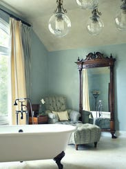A Woodcliff Lake master bathroom designed by Mark A.