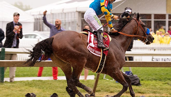 Victor Espinoza takes a look back at the competition after winning the 2015 Preakness Stakes aboard Triple Crown hopeful American Pharoah.