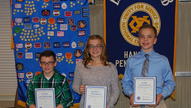 Caleb Martz, left, Maggie Re, center, and Luke Panzer, right, each received Young Citizenship Awards.