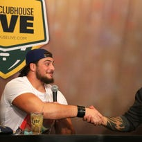 David Bakhtiari and Josh Walker talk during Clubhouse Live at the Radisson Paper Valley Hotel in Appleton, Wis., Monday, October 12, 2015. Ron Page/Post-Crescent Media