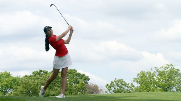 Amanda Tully of Carmel plays the 16th hole during the