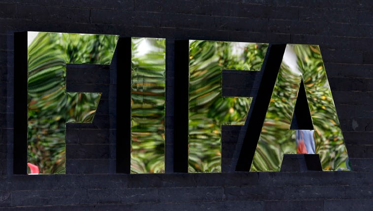 A view of the FIFA logo at the organization's headquarters