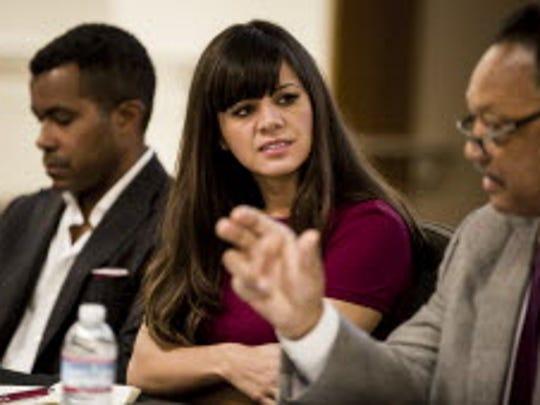 Laura Gomez speaks on a panel about tech diversity