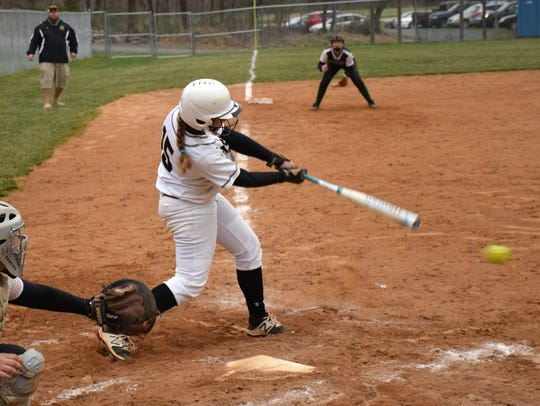Buffalo Gap's Alexis Clark connects for a single in