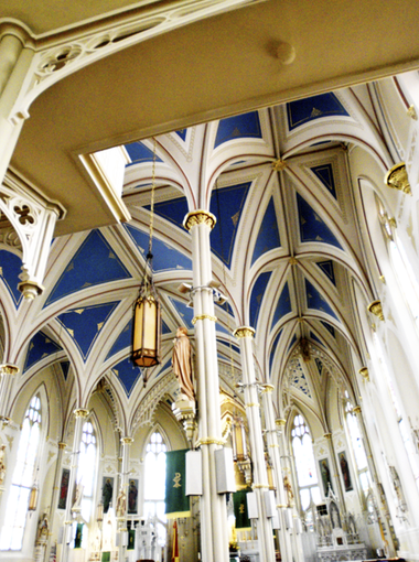 St. Mary Basilica in Natchez Mississippi has a Gothic Revival style and is open for visitors. The Cornerstone was laid on February 24, 1842.