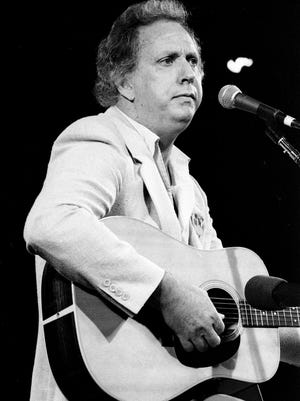 Songwriter Curly Putman, who seldom performs, sings at the concert for Harlan Howard Birthday Bash fundraiser for the Nashville Music Association Sept. 7, 1984.