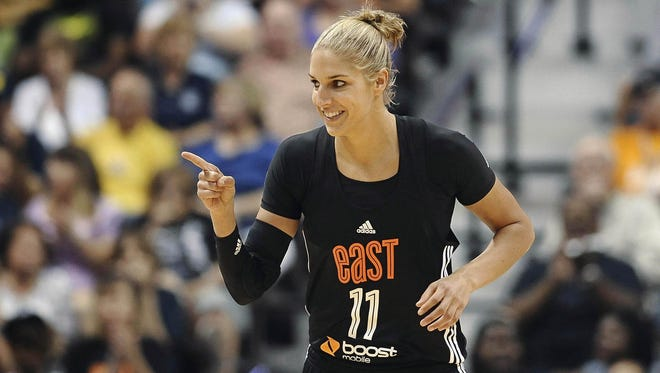 East's Elena Delle Donne, of the Chicago Sky, gestures during the second half of the WNBA All-Star basketball game Saturdayin Uncasville, Conn.