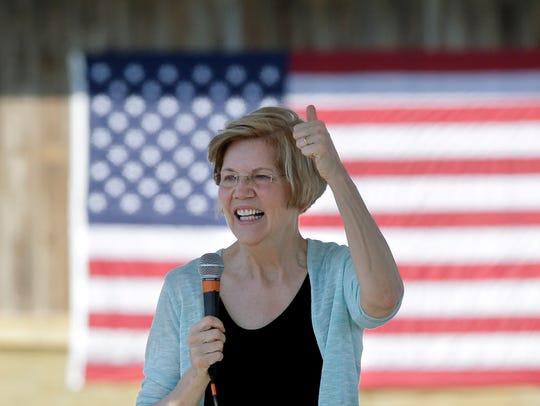 Sen. Elizabeth Warren, D-Mass., addresses an audience