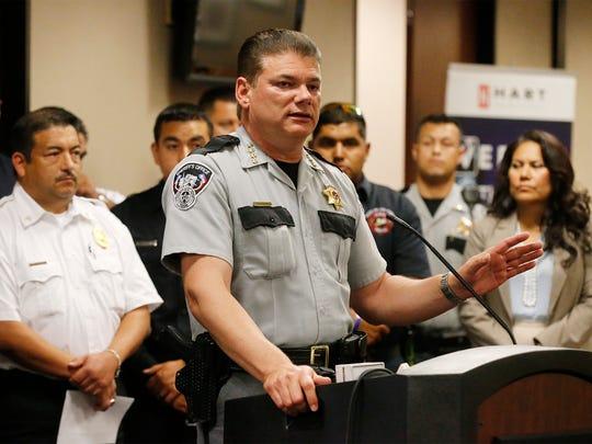 El Paso County Sheriff Richard Wiles speaks to the