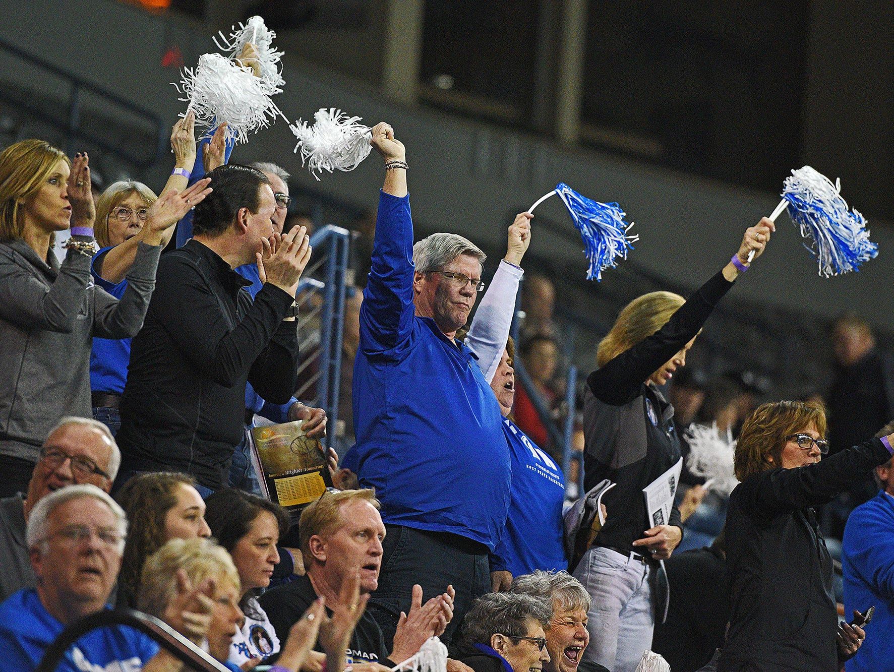 O'Gorman fans cheer on their team during a 2017 SDHSAA Class AA State Girls Basketball quarterfinal game against Roosevelt Thursday, March 16, 2017, at Rushmore Plaza Civic Center in Rapid City. O'Gorman beat Roosevelt 37-33.