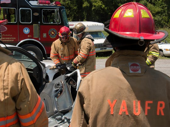 York Area United Fire and Rescue instructed WellSpan York Hospital first-year medical residents in an annual training event to give them a hands-on experience with vehicle extrication simulations using the jaws of life.