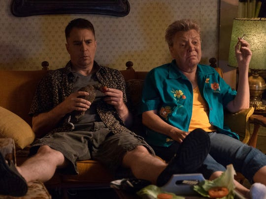 Sam Rockwell, left, and Sandy Martin in a scene from