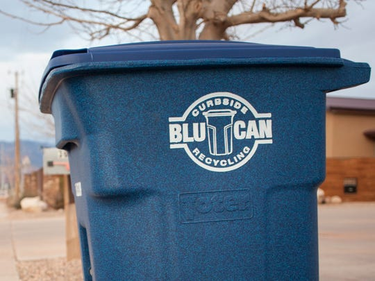 BluCan recycling bins placed on a curb in Washington