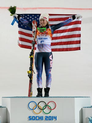 Mikaela Shiffrin of the USA celebrates her victory in the women's slalom.