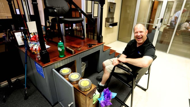 Jesse Petty is back and showing off his new shoe shine stand Friday at F&M Bank in downtown Burlington. Petty who has been at the location for 30 years is ready to shine your shoes for free - tips are suggested.