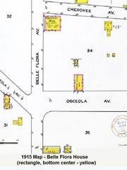 The 1915 Sanborn Fire Insurance Map of Osceola Street and Belle Flora Avenue, which shows the Belle Flora House.