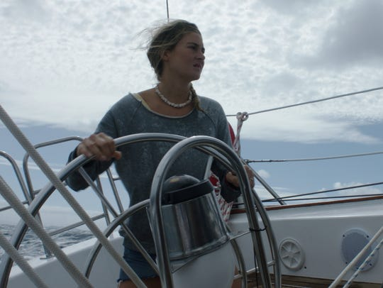 "Shailene Woodley takes to the water in ""Adrift."" She"
