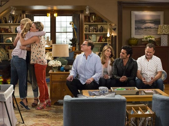 """Candace Cameron Bure, Jodie Sweetin, Andrea Barber, Lori Loughlin, John Stamos, Bob Saget and Dave Coulier star in """"Fuller House."""""""