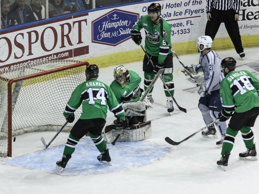 The Louisiana IceGators can only look on as Joe Caveney, 21, of the Ice Flyers gets a goal during Friday night's game at the Pensacola Bay Center.
