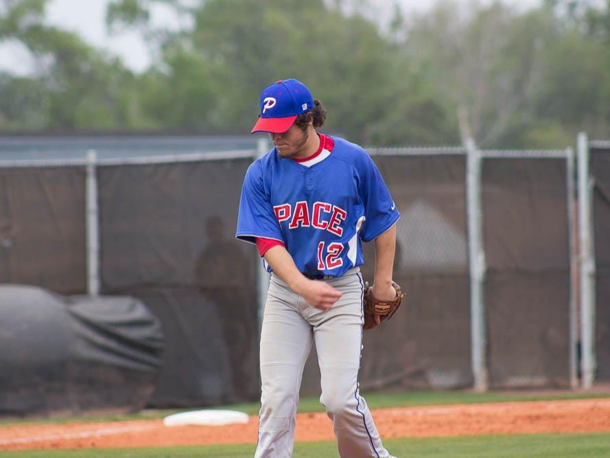 Pace starting pitcher Vito Orlando holds down the mound during Pace's win over Tate on Wednesday.