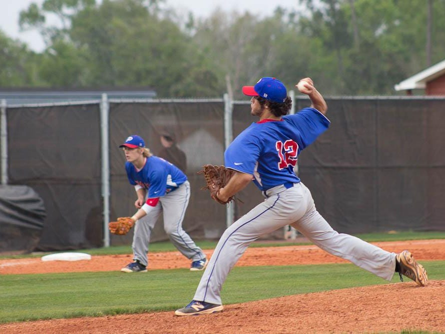 Pace starting pitcher Vito Orlando delivers a pitch during Wednesday's game at Tate.