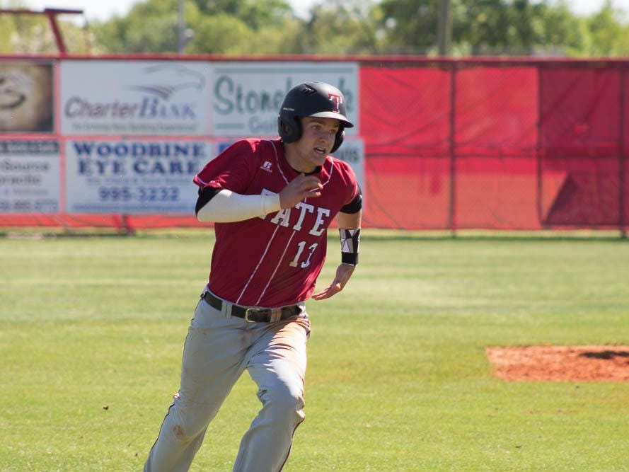 Tate's Logan Blackmon hustles around the bases during the Aggies' 4-2 victory over Pace on Saturday, April 2.