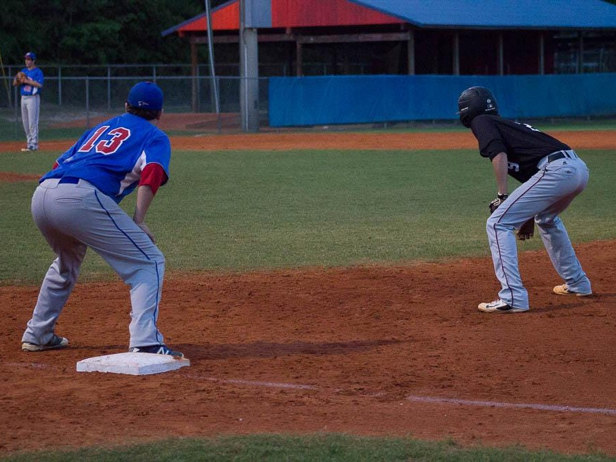 Pace first baseman dalton Childs awaits the pitch during Thursday's game vs. Tate.