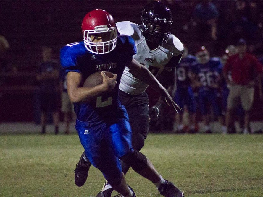 Pace's Damean Bivins breaks free in the open field during action Monday night at Patriot Stadium.
