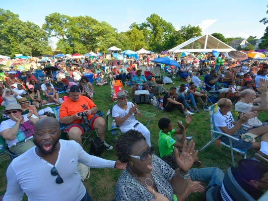 The crowd claps along during the 2016 Montclair Jazz