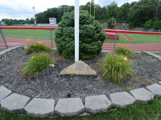The 9/11 monument by the flag pole at Lakeland Regional H.S. at 205 Conklintown Rd. in Wanaque.
