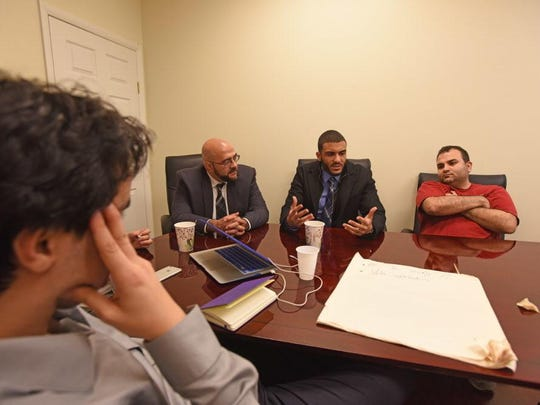Yassine Elkaryani, Prospect Park Mayor Mohammed Khairullah, Islam Sery and Bader Risheg gathered in Hackensack on Nov. 19 to talk about helping other Muslims get involved in the community.