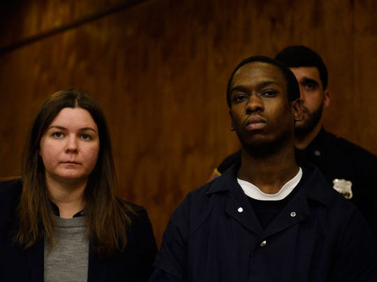 Zamaire Barden, right, with his attorney Leigh Saltiel, left, in Passaic County Court on Tuesday, Feb. 23, 2016.