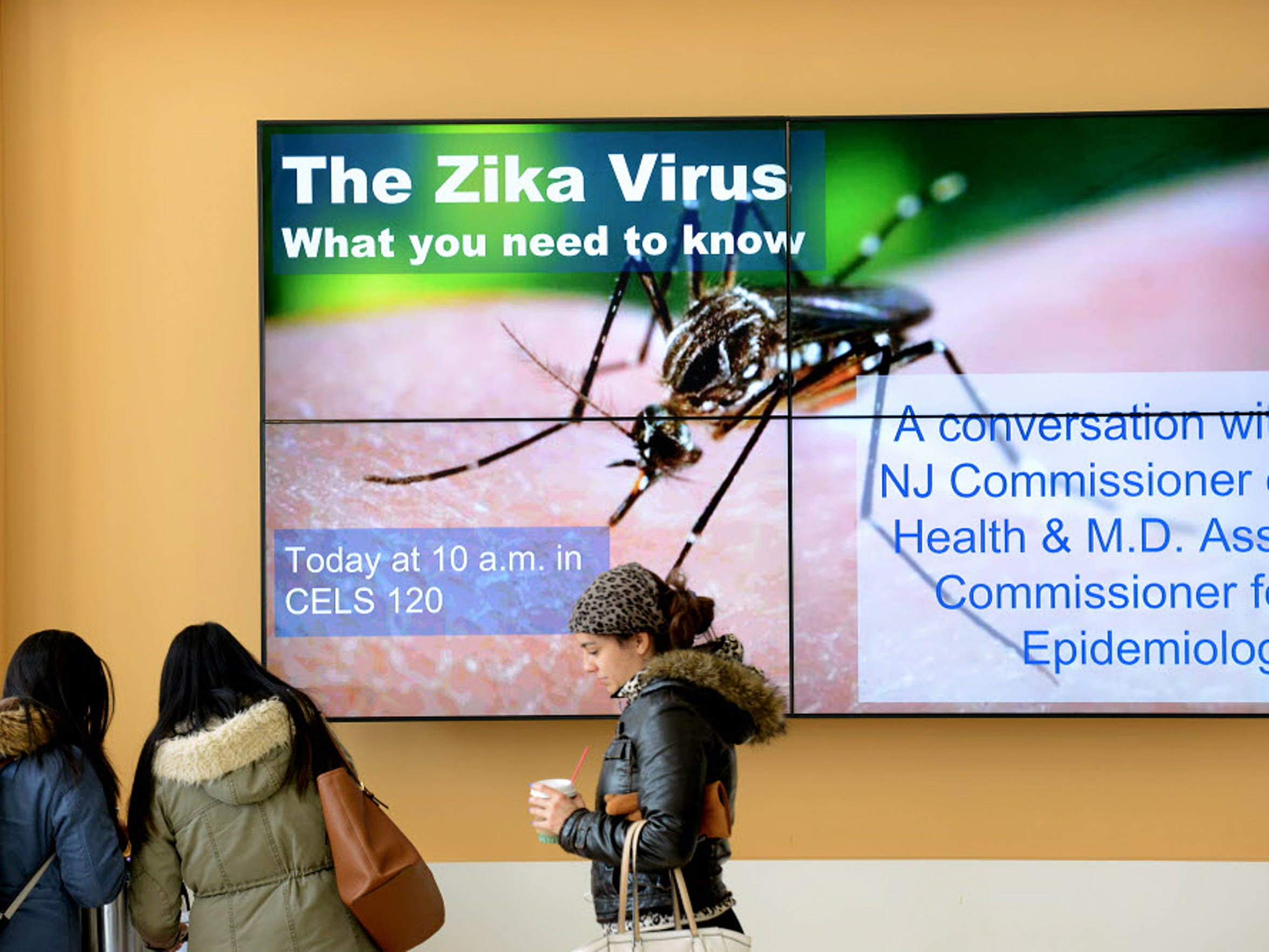Cathleen Bennett, the acting state health commissioner at the time, and Dr. Tina Tan, state epidemiologist, host a presentation on Zika virus at Montclair State University in March 2016.
