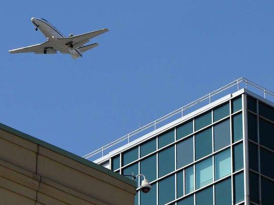 Plane flying low over  Hackensack University Medical Center.