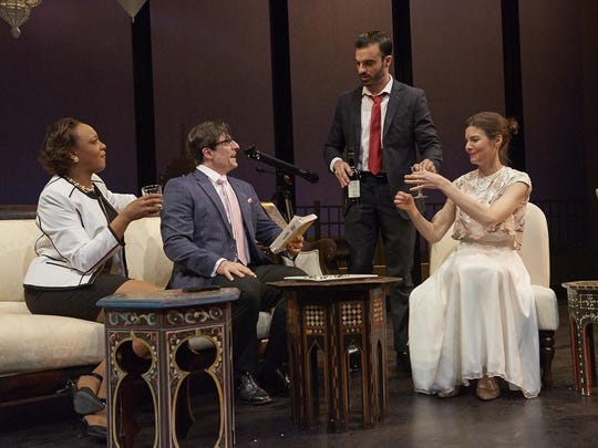 """Starring in the Hangar Theatre production of """"Disgraced"""" are, from left, Robyn Payne, Jonas Cohen, Alex Purcell and Roya Shanks."""
