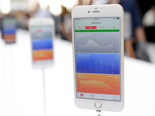 The iPhone 6 Plus on display during an announcement of new products by Apple  on Tuesday, Sept. 9, 2014, in Cupertino, Calif. (AP Photo/Marcio Jose Sanchez, File)