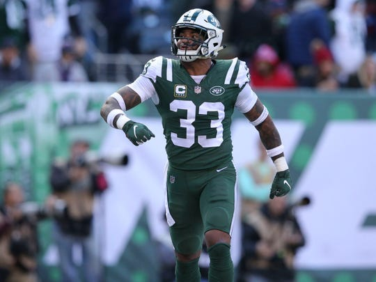 New York Jets safety Jamal Adams (33) reacts after breaking up a pass intended for New England Patriots tight end Rob Gronkowski (not pictured) in the end zone during the second quarter at MetLife Stadium. (Brad Penner-USA TODAY Sports)