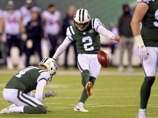 New York Jets' Jason Myers kicks against the Tennessee Titans earlier this month.