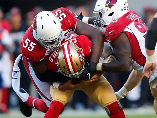 Chandler Jones records another sack during a game against the 49ers.