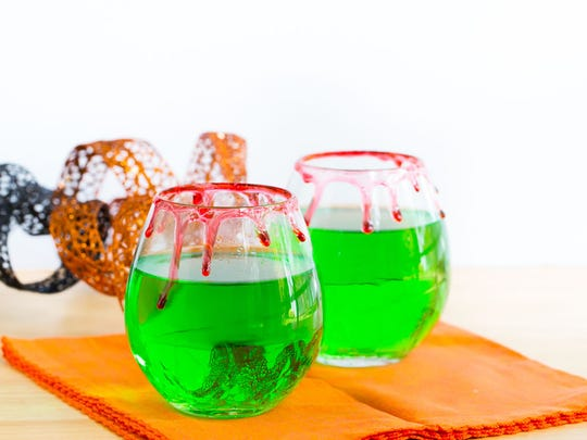 Dripping rims are made by letting a colored and flavored corn syrup run down the sides of glasses.