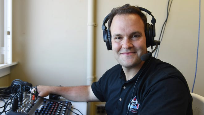 The Hudson Valley Renegades' director of media relations and radio broadcaster Josh Caray in the broadcasting booth at Dutchess Stadium in Fishkill on Wednesday.