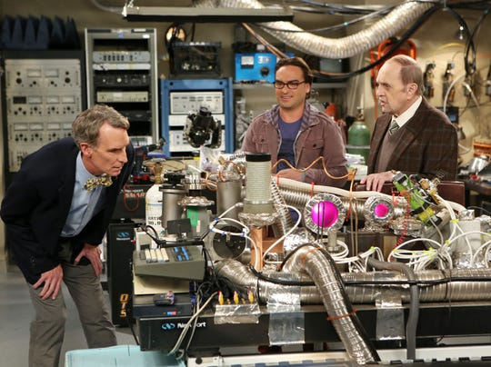 Bob Newhart, right, appeared on a 2013 episode of 'The Big Bang Theory' that featured real-life science host Bill Nye, left, and 'Big Bang' star Johnny Galecki.