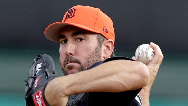 Tigers pitcher Justin Verlander throws against the Braves during the first inning Thursday, March 23, 2017 in Kissimmee, Fla.