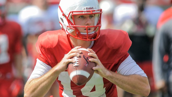 Western Kentucky Hilltoppers quarterback Mike White (14) during day 4 of of practice for the Western Kentucky Hilltoppers football team.
