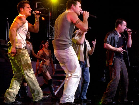 98 Degrees perform at Riverbend Music Center (L-R)