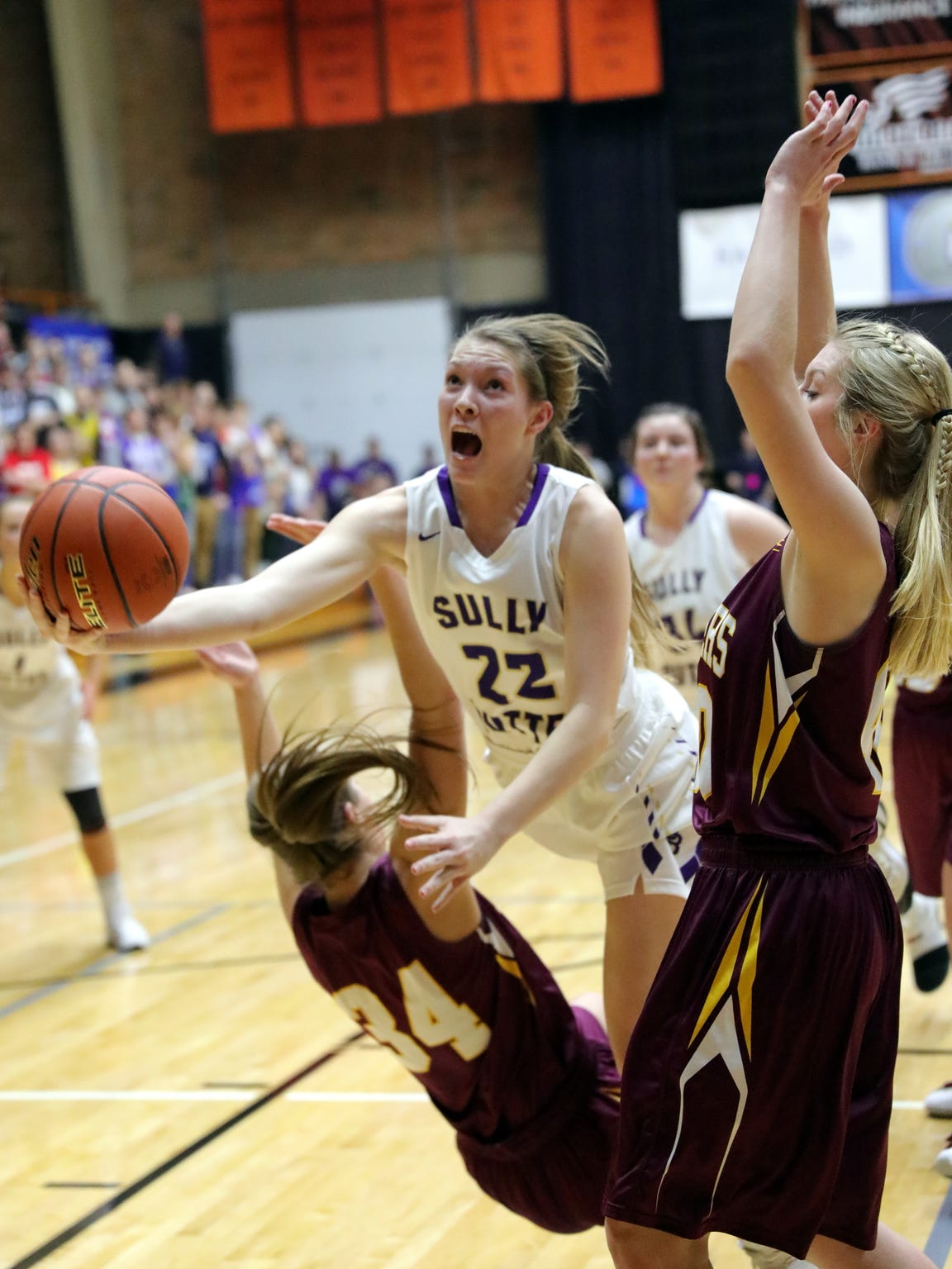 Sully Buttes' Chloe Lamb collides with Ethan's Karly