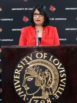 University of Louisville president Neeli Bendapudi  announces changing the name of Papa John's Cardinal Stadium to Cardinal Stadium during a press conference at the University of Louisville.      July 13, 2018